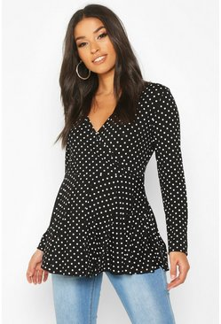 Womens Black Maternity Polka Dot Wrap Top