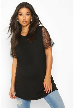 Womens Black Maternity Lace Sleeve T-Shirt
