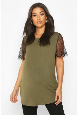 Khaki Maternity Lace Sleeve T-Shirt