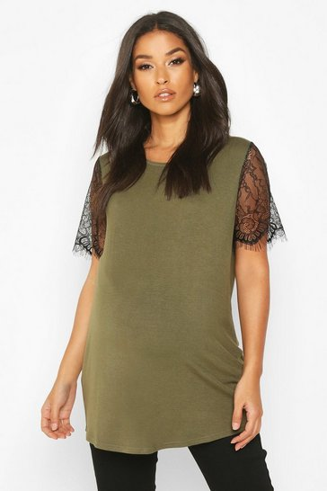 Womens Khaki Maternity Lace Sleeve T-Shirt