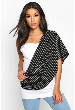 Womens Black Maternity Stripe Nursing Shawl