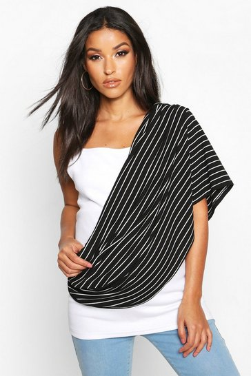 Black Maternity Stripe Nursing Shawl