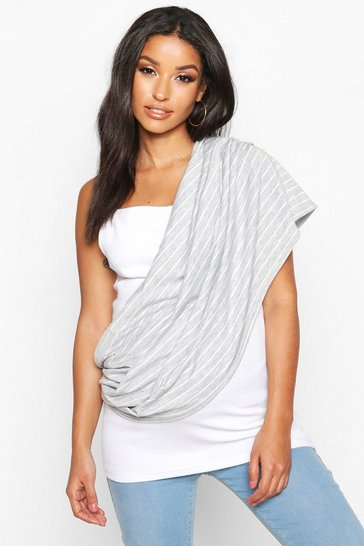 Grey Maternity Stripe Nursing Shawl