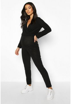Womens Black Maternity Wrap Lounge Jumpsuit