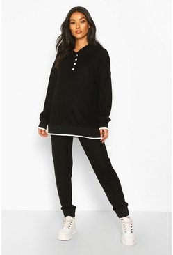 Black Maternity Button Front Hooded Lounge Set