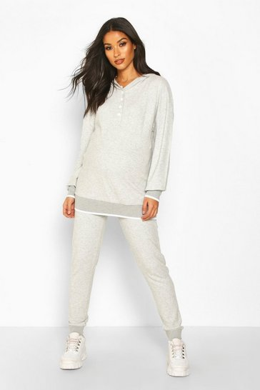 Womens Light grey Maternity Button Front Hooded Lounge Set