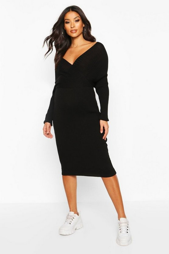 Womens Black Maternity Wrap Top Knitted Dress