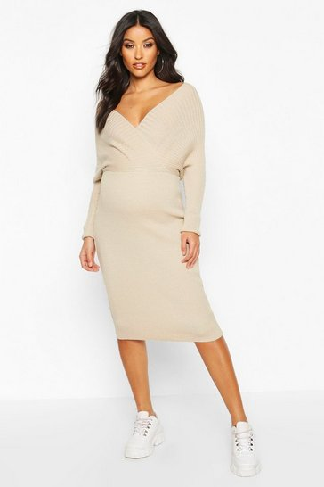 Womens Oatmeal Maternity Wrap Top Knitted Dress