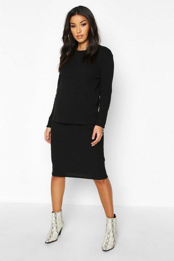 Maternity Knitted Rib Midi Skirt Co-ord Set