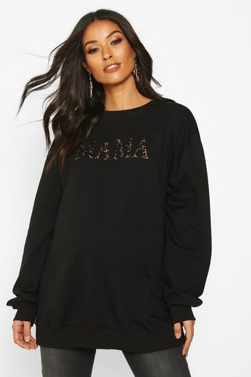 Womens Black Maternity Leopard 'Mama' Slogan Sweat