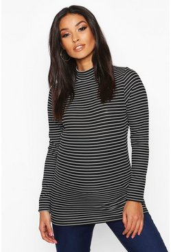 Dam Black Maternity Stripe High Neck Rib Top