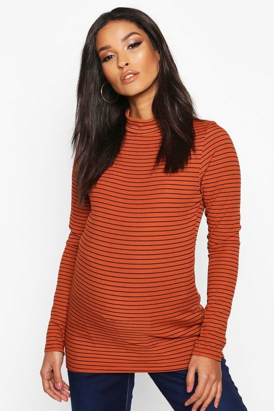 Rust Maternity Stripe High Neck Rib Top