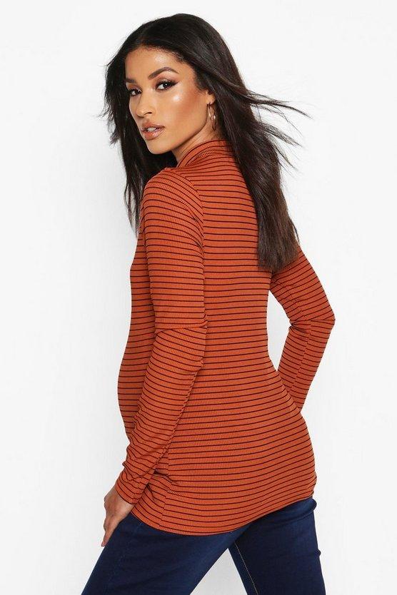 Maternity Stripe High Neck Rib Top
