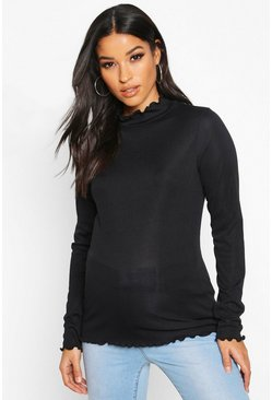 Black Maternity Lettuce Hem High Neck Rib Top