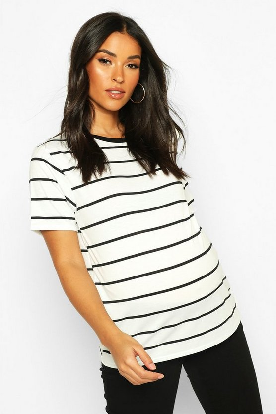Womens White Maternity Stripe Ringer Tee