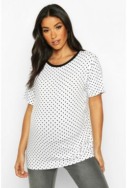 Womens White Maternity Polka Dot Ringer Tee