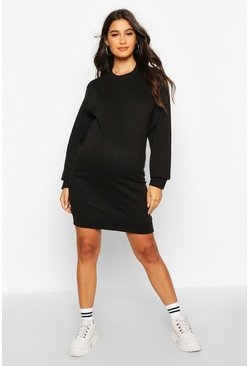 Womens Black Maternity Basic Crew Neck Sweat Dress