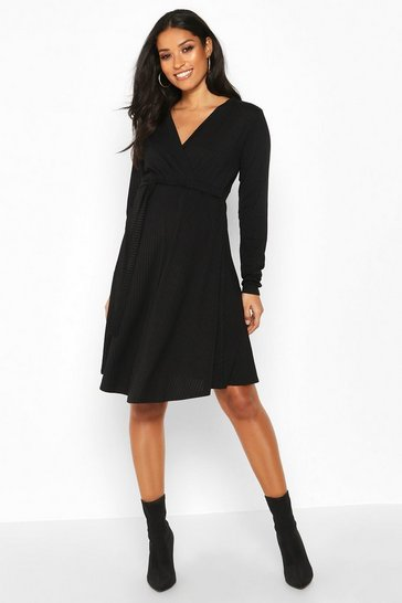 Womens Black Maternity Rib Wrap Skater Dress