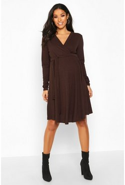 Chocolate Maternity Rib Wrap Skater Dress