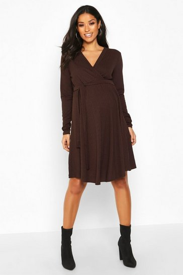 Womens Chocolate Maternity Rib Wrap Skater Dress