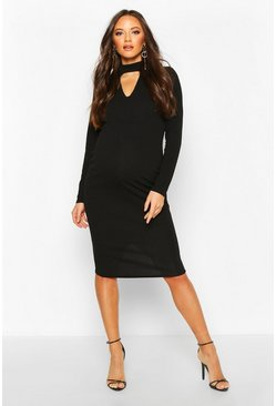 Womens Black Maternity Choker Midi Bodycon Dress