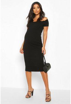 Black Maternity Bardot Scallop Midi Bodycon Dress