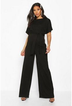 Black Maternity Batwing Wide Leg Jumpsuit