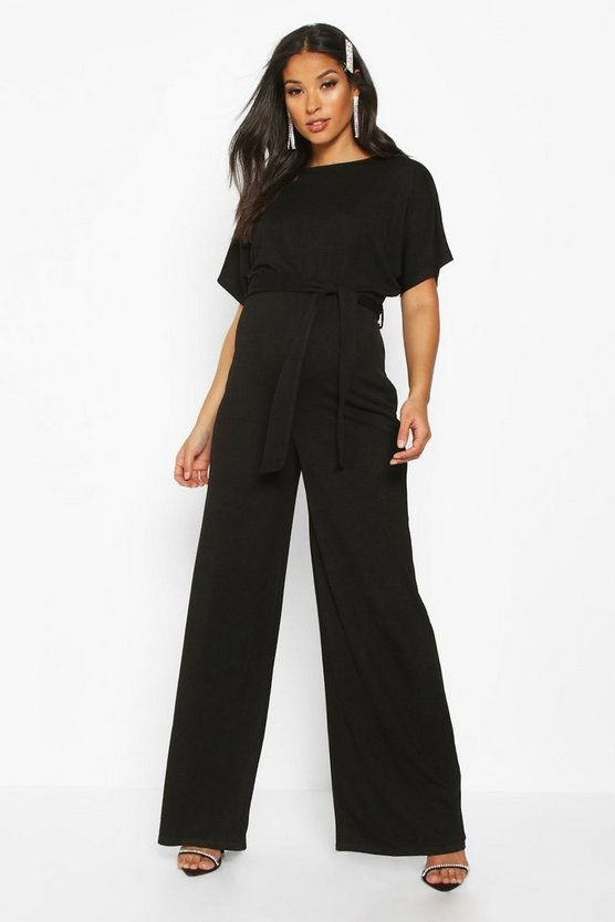 Womens Black Maternity Batwing Wide Leg Jumpsuit