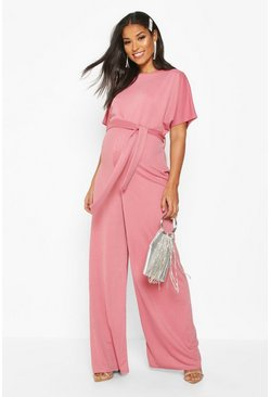Dam Blush Maternity Batwing Wide Leg Jumpsuit
