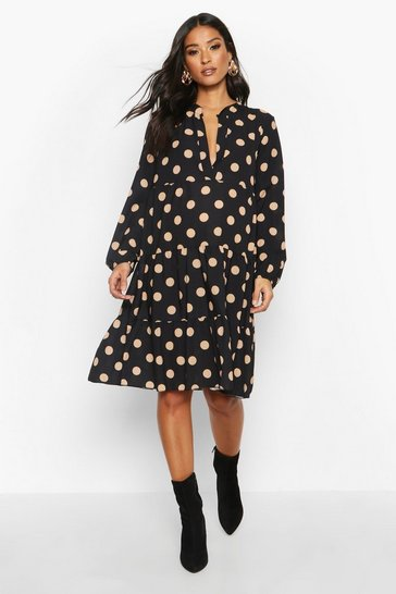 Womens Black Maternity Polka Dot Woven Smock Dress