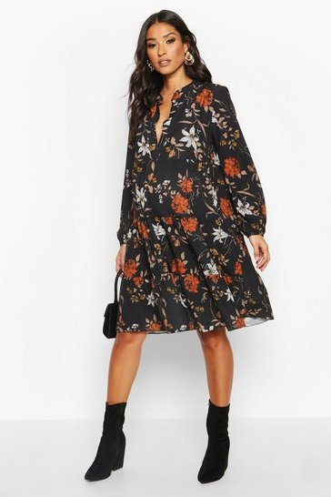 Womens Black Maternity Floral Print Smock Dress