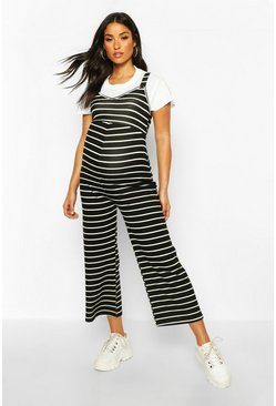 Black Maternity Stripe Pinafore Jumpsuit