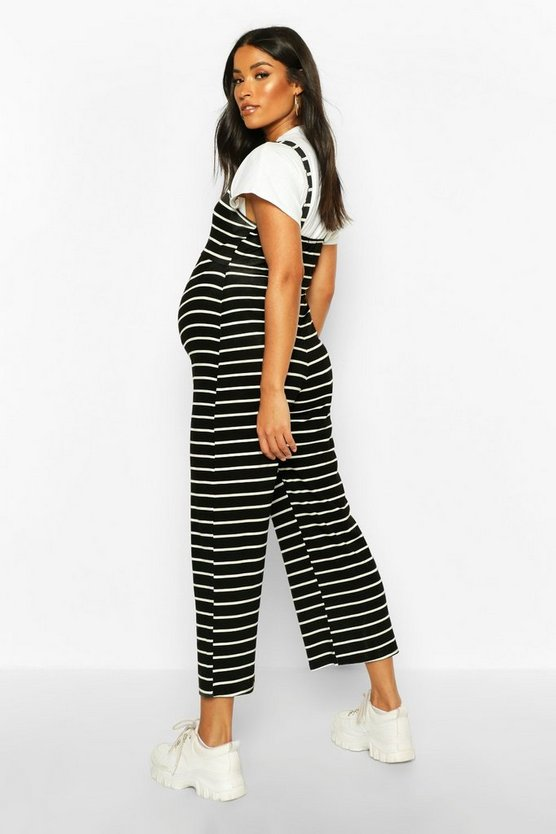 Maternity Stripe Pinafore Jumpsuit