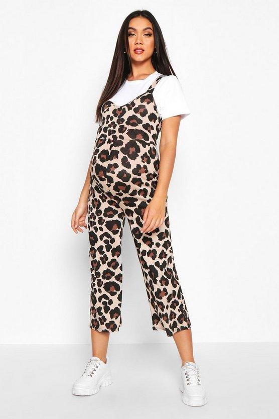 Maternity Leopard Print Jumpsuit