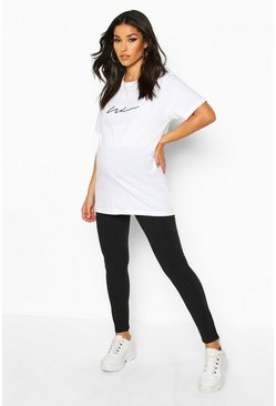 Womens Black Maternity Rib Lounge Legging