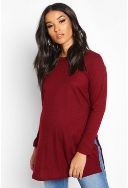 Womens Berry Maternity Side Split Rib Jumper