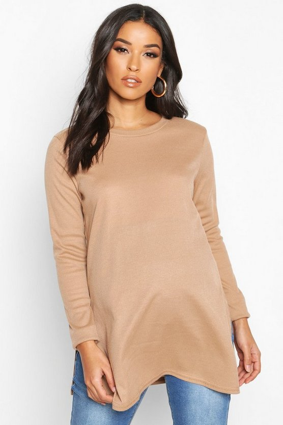 Camel Maternity Side Split Rib Jumper