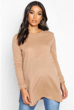 Camel Maternity Side Split Rib Sweater
