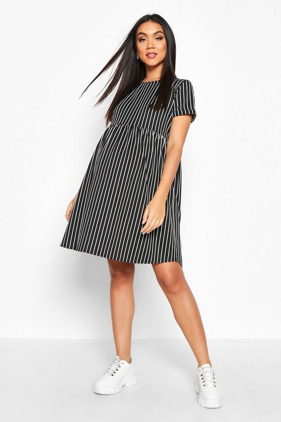 Black Maternity Stripe Smock Dress