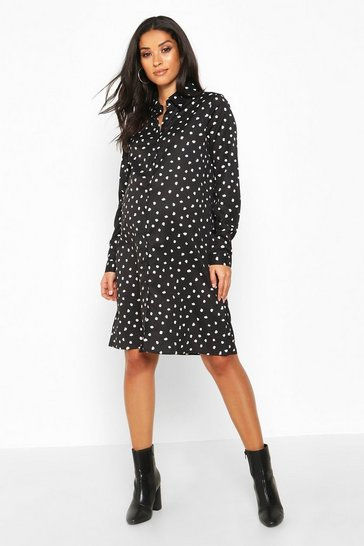 Wine Maternity Polka Dot Shirt Dress