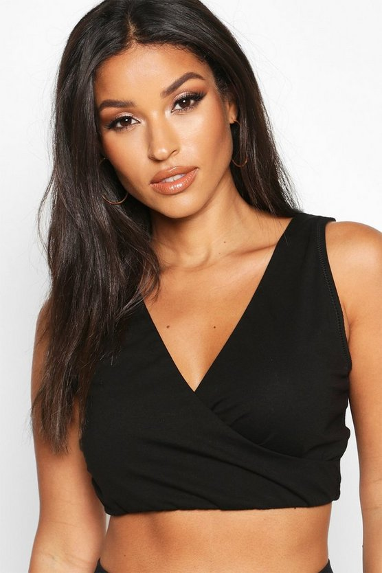 Black Maternity Wrap Over T-Shirt Nursing Bra