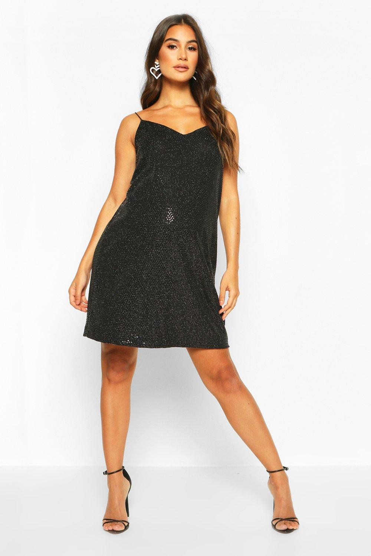 Vintage Style Maternity Clothes Womens Maternity Sequin Cami Slip Dress - black - 12 $33.00 AT vintagedancer.com