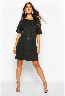 Womens Black Maternity Sequin Shift Dress