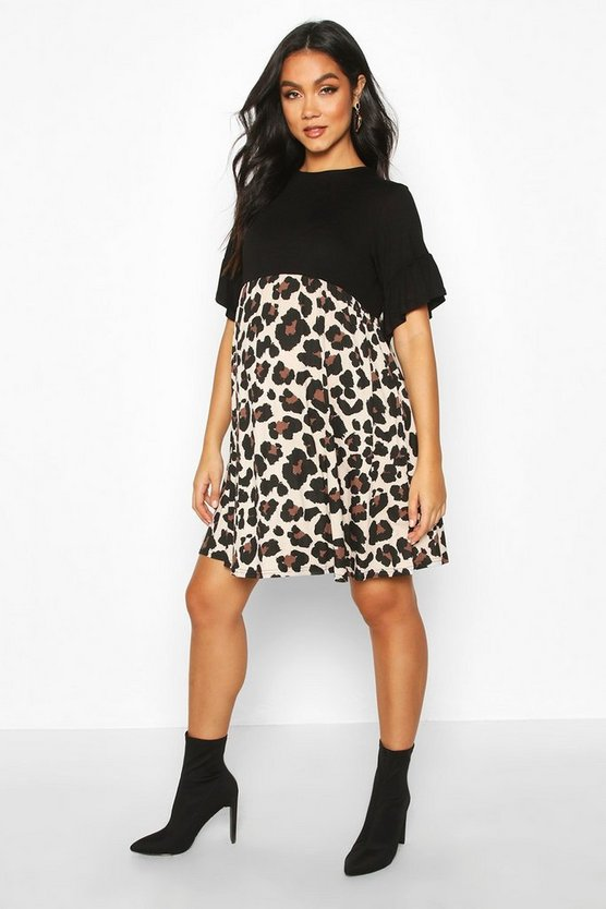 Maternity Contrast Leopard Smock Dress, Black, FEMMES