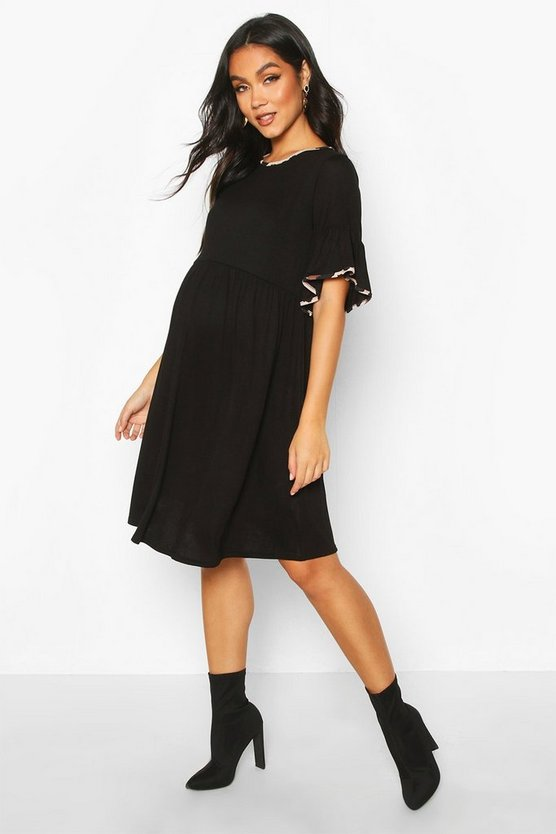 Womens Black Maternity Leopard Ringer Smock Dress