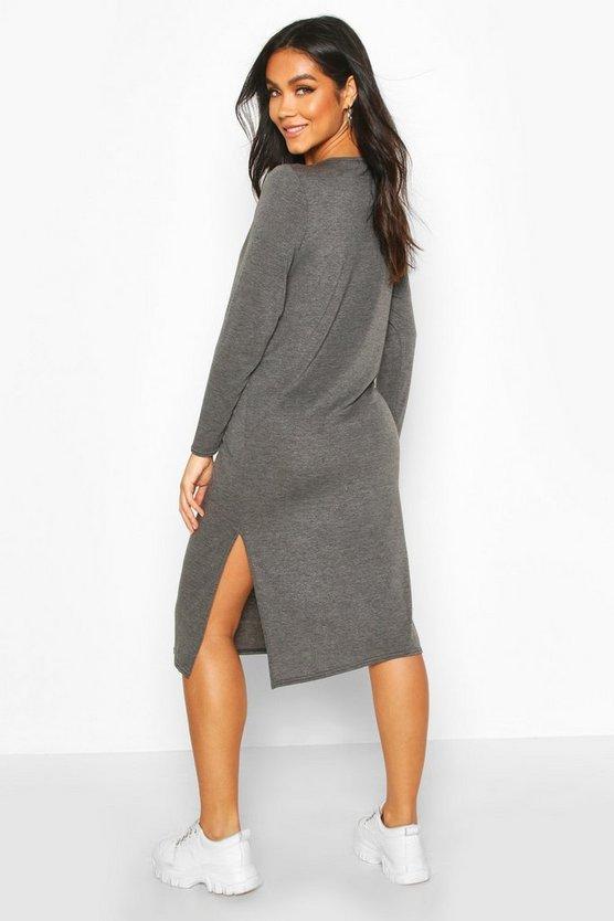 Maternity Side Split Long Sleeve Shift Dress