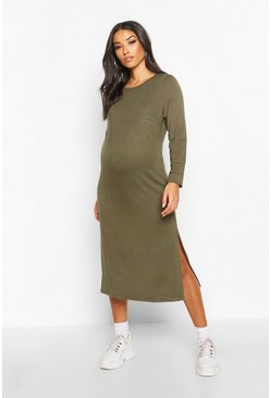 Khaki Maternity Side Split Long Sleeve Shift Dress