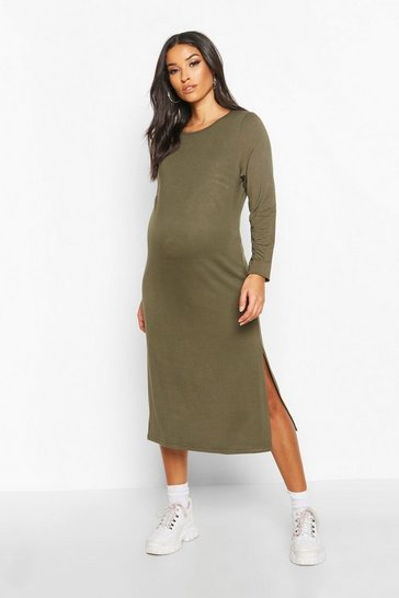 Womens Khaki Maternity Side Split Long Sleeve Shift Dress
