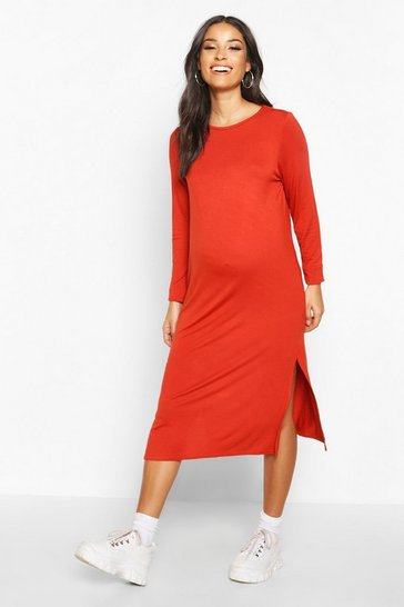 Womens Rust Maternity Side Split Long Sleeve Shift Dress