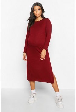 Wine Maternity Side Split Long Sleeve Shift Dress